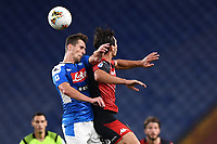 Arkadiusz Milik of SSC Napoli and Edoardo Goldaniga of Genoa compete for the ball during the Serie A football match between Genoa CFC and SSC Napoli stadio Marassi in Genova ( Italy ), July 08th, 2020. Play resumes behind closed doors following the outbreak of the coronavirus disease. <br /> Photo Matteo Gribaudi / Image / Insidefoto