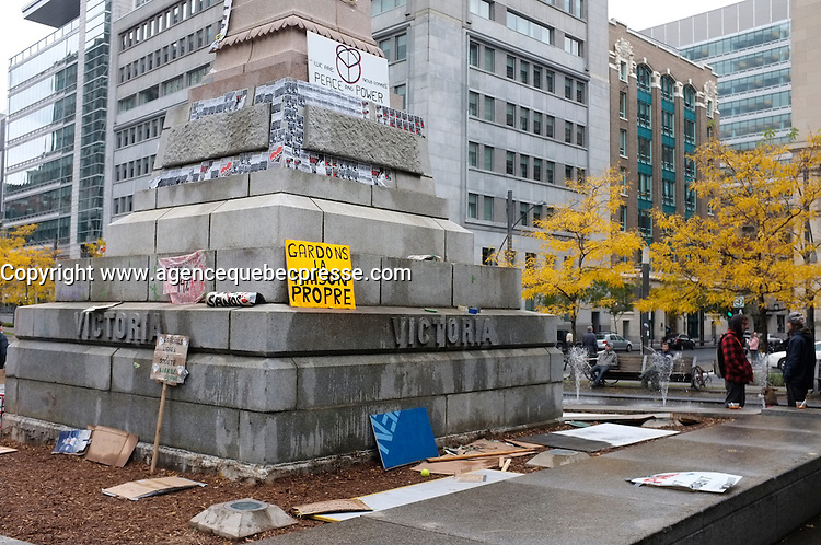 Montreal (Qc) CANADA - October 17 2011 -Protesters tent in Square Victoria financialm district of Montreal. - Les Indignes