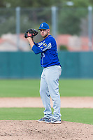 Team Italy relief pitcher Filippo Crepaldi (19) gets ready to deliver a pitch during an exhibition game against the Oakland Athletics at Lew Wolff Training Complex on October 3, 2018 in Mesa, Arizona. (Zachary Lucy/Four Seam Images)
