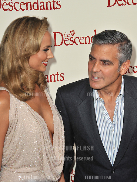 "George Clooney & girlfriend Stacy Keibler at the Los Angeles premiere of his new movie ""The Descendants"" at the Samuel Goldwyn Theatre in Beverly Hills..November 15, 2011  Beverly Hills, CA.Picture: Paul Smith / Featureflash"