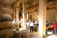 Oak barrel aging and fermentation cellar. Wine tasting group. Scala Dei, Priorato, Catalonia, Spain