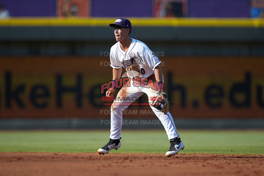 Winston-Salem Dash second baseman JJ Muno (10) on defense against the Carolina Mudcats at BB&T Ballpark on June 1, 2019 in Winston-Salem, North Carolina. The Mudcats defeated the Dash 6-3 in game one of a double header. (Brian Westerholt/Four Seam Images)