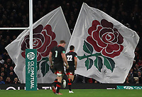 England flags wave after England score a try<br /> <br /> Photographer Rachel Holborn/CameraSport<br /> <br /> International Rugby Union Friendly - Old Mutual Wealth Series Autumn Internationals 2017 - England v Argentina - Saturday 11th November 2017 - Twickenham Stadium - London<br /> <br /> World Copyright &copy; 2017 CameraSport. All rights reserved. 43 Linden Ave. Countesthorpe. Leicester. England. LE8 5PG - Tel: +44 (0) 116 277 4147 - admin@camerasport.com - www.camerasport.com