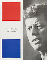 "Pictured: A program from the fundraising gala titled ""Happy Birthday Mr. President"" that took place at Madison Square Garden in New York City on May 19, 1962. The event featured Marilyn Monroe's now legendary performance of the song ""Happy Birthday"" to the president in her form-fitting Jean Louis gown. <br />