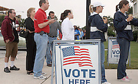Gary Wilcox/The Times-Union--11/04/08-Their was a line of  people waiting in line to vote  at 7 AM Tuesday at the Jacksonville Beach City Hall in Jacksonville Beach Florida to vote  in the local  election and  national election to elect a new president.  November 4, 2008 (The Florida Times-Union, Gary Wilcox)