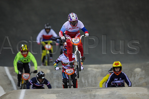 09.04.2016. National Cycling Centre, Manchester, England. UCI BMX Supercross World Cup day 1. Natalia Suvorov leads from Judy Baauw.