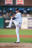 Kane County Cougars starting pitcher Brian Shaffer (18) delivers a pitch during a game against the South Bend Cubs on July 23, 2018 at Northwestern Medicine Field in Geneva, Illinois.  Kane County defeated South Bend 8-5.  (Mike Janes/Four Seam Images)