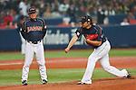 (L to R)  Osamu Higashio (JPN), Takeru Imamura (JPN), .February 26, 2013 - WBC : .2013 World Baseball Classic, Exhibithion Game .match between Japan 0-1 Hanshin Tigers  .at Kyocera Dome, Osaka, Japan..(Photo by AJPS/AFLO SPORT)