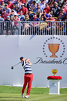 Justin Thomas (USA) watches his tee shot on 1 during round 4 Singles of the 2017 President's Cup, Liberty National Golf Club, Jersey City, New Jersey, USA. 10/1/2017. <br /> Picture: Golffile | Ken Murray<br /> <br /> All photo usage must carry mandatory copyright credit (&copy; Golffile | Ken Murray)