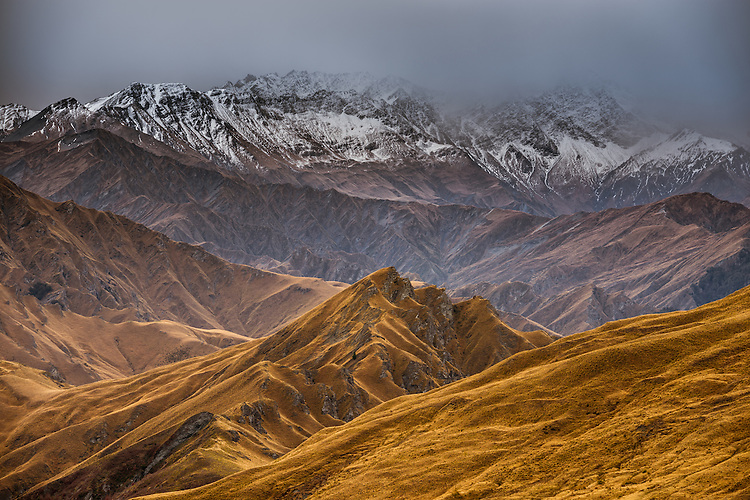 Moody view of Skippers Canyon, towards the Richardson mountains. Queenstown, New Zealand - stock photo, canvas, fine art print