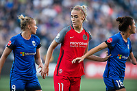 Seattle, WA - Saturday, July 1, 2017:  Dagný Brynjarsdóttir, Merritt Mathias and Carson Pickett during a regular season National Women's Soccer League (NWSL) match between the Seattle Reign FC and the Portland Thorns FC at Memorial Stadium.