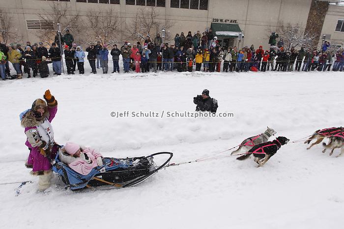 DeeDee Jonrowe Saturday, March 3, 2012  Ceremonial Start of Iditarod 2012 in Anchorage, Alaska.
