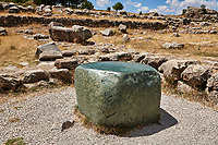 Green polished cult stone of temple I, Hattusa (also Ḫattuša or Hattusas) late Anatolian Bronze Age capital of the Hittite Empire. Hittite archaeological site and ruins, Boğazkale, Turkey.