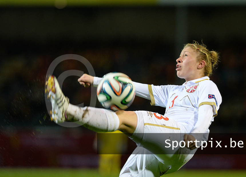 20151130 - LEUVEN ,  BELGIUM : Serbian Tijana Krstic pictured during the female soccer game between the Belgian Red Flames and Serbia , the third game in the qualification for the European Championship in The Netherlands 2017  , Monday 30 November 2015 at Stadion Den Dreef  in Leuven , Belgium. PHOTO DAVID CATRY