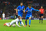 Boston Cesar of Slovenia tackles Wayne Rooney of England to give away a penalty - England vs. Slovenia - UEFA Euro 2016 Qualifying - Wembley Stadium - London - 15/11/2014 Pic Philip Oldham/Sportimage