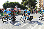 Astana Pro Team recon Stage 1 of La Vuelta 2019, a team time trial running 13.4km from Salinas de Torrevieja to Torrevieja, Spain. 24th August 2019.<br /> Picture: Eoin Clarke | Cyclefile<br /> <br /> All photos usage must carry mandatory copyright credit (© Cyclefile | Eoin Clarke)