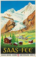 BNPS.co.uk (01202 558833)<br /> Pic: Lyon&Turnbull/BNPS<br /> <br /> Pictured: A vintage poster Saas-Fee in Switzerland sold for £3750<br /> <br /> A stunning set of vintage ski posters depicting the halcyon days of European winter holidays have sold for over £116,000.<br /> <br /> They featured early lithograph prints of advertising posters for glamorous resorts including Champery and Gstaad.<br /> <br /> The earliest posters in the sale dated from the turn of the 20th century, with the most recent examples from the 1960s.<br /> <br /> As transport links improved in the 1920s and '30s, skiing holidays grew in popularity.