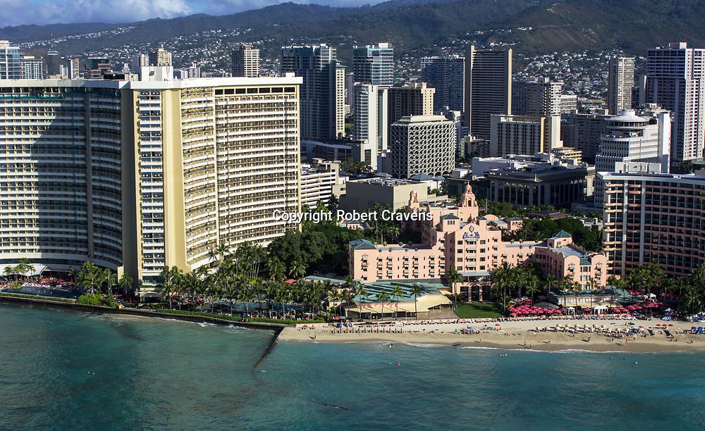 Helicopter Aerial Sheraton And Royal Hawaiian Hotels Waikiki