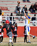 Borgia wide receiver Andrew Patton (right) intercepts a pass intended for Roosevelt wide receiver Deablo McGee. Roosevelt defeated Borgia in a Class 3 District 2 football game at Roosevelt HS in St. Louis on Saturday November 16, 2019. <br /> Tim Vizer/Special to STLhighschoolsports.com
