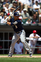 Milwaukee Brewers shortstop Cesar Izturis #3 at bat during the Major League Baseball game against the Chicago White Sox on June 24, 2012 at US Cellular Field in Chicago, Illinois. The White Sox defeated the Brewers 1-0 in 10 innings. (Andrew Woolley/Four Seam Images).