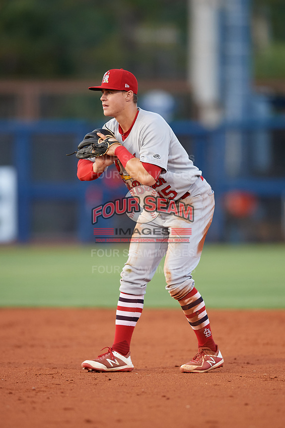 Palm Beach Cardinals second baseman Andy Young (15) during a game against the Charlotte Stone Crabs on April 20, 2018 at Charlotte Sports Park in Port Charlotte, Florida.  Charlotte defeated Palm Beach 4-3.  (Mike Janes/Four Seam Images)