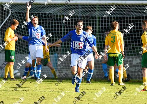 2016-10-16 / voetbal / seizoen 2016 - 2017 / Linda Olen - Weelde / Imad Kharichef (m) (Weelde) heeft in de laatste minuten van de wedstrijd de gelijkmaker binnengetrapt en juicht