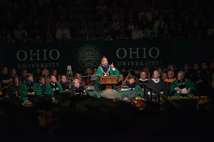 OHIO President Roderick McDavis speaks at undergraduate commencement. Photo by Ben Siegel