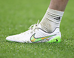 Chelsea's Thibaut Courtois boot with a Belgian flag stitch on<br /> <br /> Barclays Premier League- Chelsea vs Everton  - Stamford Bridge - England - 11th February 2015 - Picture David Klein/Sportimage