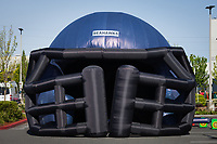 Large inflatable Seattle Seahawks football helmet, Seahawks 12K Run 2016, The Landing, Renton, Washington, USA.