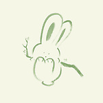 Cute happy green bunny rabbit swinging on a branch, artistic illustration based on an original sumi-e painting artwork, minimalistic design isolated on light green background