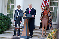 WASHINGTON, DC - NOVEMBER 21:President Donald J Trump continues the White House Thanksgiving tradition of pardoning turkeys in the Rose Garden. He is joined with his son, Barron and wife Melania. November 21, 2017. Credit: Patsy Lynch/MediaPunch NortePhoto.com