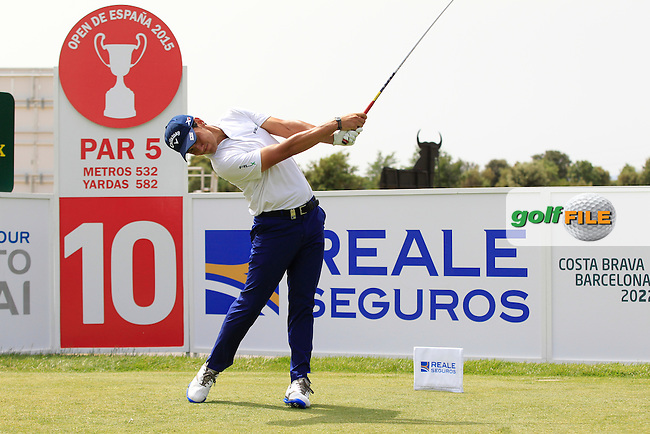 Matteo Manassero (ITA) on the 10th tee during the Pro-Am of the Open de Espana  in Club de Golf el Prat, Barcelona on Wednesday 13th May 2015.<br /> Picture:  Thos Caffrey / www.golffile.ie
