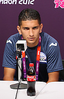 Hampden Park, Glasgow match venue for Football at London 2012...Johnny Leveron of Motagu at the Honduran Mens Press Conference...........
