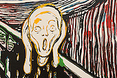 London, England. 15 October 2014. Detail view, The Scream (after Edvard Munch), 1984 by Andy Warhol. Skarstedt Gallery. Fine art fair Frieze Masters 2014 in Regent's Park, London. Photo: Bettina Strenske