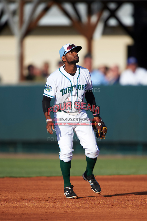 Daytona Tortugas second baseman Ty Washington (3) during a game against the Fort Myers Miracle on April 17, 2016 at Jackie Robinson Ballpark in Daytona, Florida.  Fort Myers defeated Daytona 9-0.  (Mike Janes/Four Seam Images)