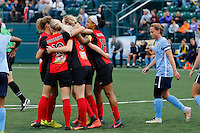 Rochester, NY - Saturday May 21, 2016: Western New York Flash celebrate a goal. The Western New York Flash defeated Sky Blue FC 5-2 during a regular season National Women's Soccer League (NWSL) match at Sahlen's Stadium.