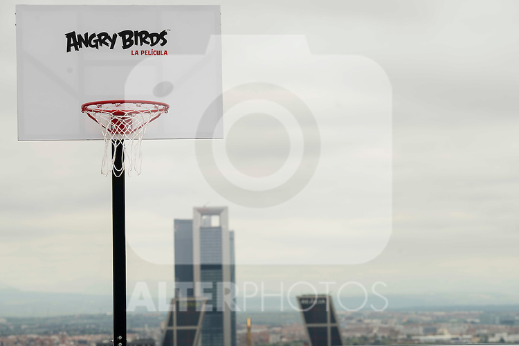 "A hoop on the flat roof of Torre Picasso with the Four Towers Business Area behind during the presentation of the film ""Angry Birds"" at the Flat Roof of Torre Picasso in Madrid. April 29,2016. (ALTERPHOTOS/Borja B.Hojas)"