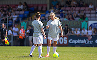 Bianca Gascoigne (Model) talks tactics before kick off during the 'Greatest Show on Turf' Celebrity Event - Once in a Blue Moon Events at the London Borough of Barking and Dagenham Stadium, London, England on 8 May 2016. Photo by Andy Rowland.