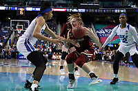 GREENSBORO, NC - MARCH 06: Cameron Swarz #1 of Boston College is defended by Leaonna Odom #5 of Duke University during a game between Boston College and Duke at Greensboro Coliseum on March 06, 2020 in Greensboro, North Carolina.