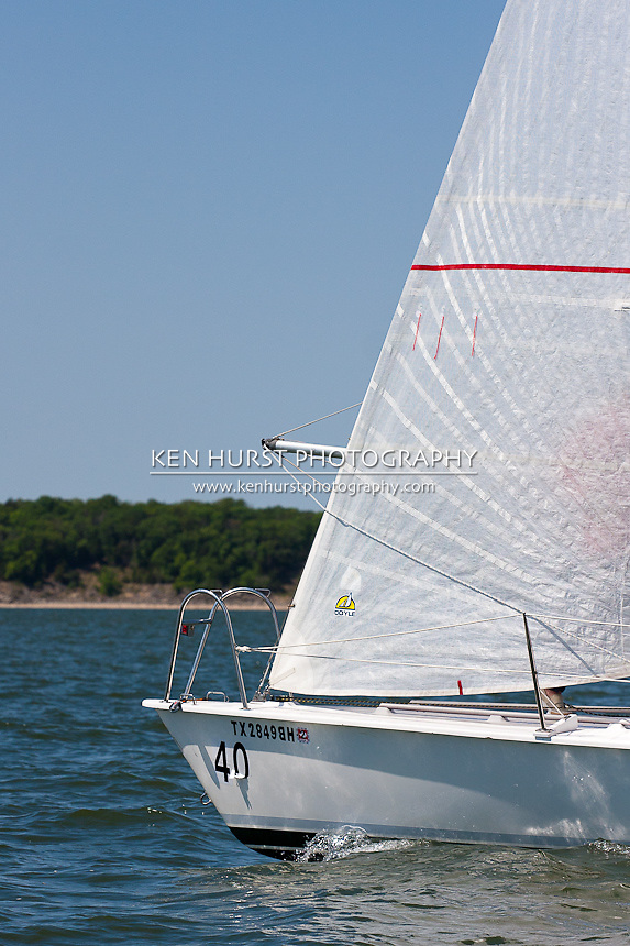 proprius munia, an 11 meter one design, racing at Texoma Sailing Club Lakefest Regatta 2011, 25th annual charity regatta at Lake Texoma, Denison, Texas.