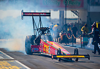 Oct 19, 2019; Ennis, TX, USA; NHRA top fuel driver Brittany Force during qualifying for the Fall Nationals at the Texas Motorplex. Mandatory Credit: Mark J. Rebilas-USA TODAY Sports