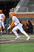 University of Tennessee Jake Rucker (7) swings at a pitch during a game against Western Illinois at Lindsey Nelson Stadium on February 15, 2020 in Knoxville, Tennessee. The Volunteers defeated Leathernecks 19-0. (Tony Farlow/Four Seam Images)