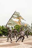 Monument to the 18 rebels of the Fort of Copacabana who were led by Antonio de Siqueira Campos. They resisted the military governmnet of Brazil in 1922. Sculptor Mauricio Bentes. City of Palmas, Tocantins State, Brazil. Photo © Sue Cunningham, pictures@scphotographic.com 26th October 2015