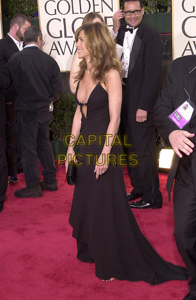 JENNIFER ANISTON.61st Annual Golden Globe Awards, Los Angeles.January 25th, 2004.full length, black sdress, plunging neckline.www.capitalpictures.com.sales@capitalpictures.com.©Capital Pictures
