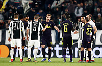 Football Soccer: UEFA Champions League Juventus vs Tottenahm Hotspurs FC, Round of 16 1st leg, Allianz Stadium. Turin, Italy, February 13, 2018. <br /> Juventus' players greet Tottenahm Hotspurs FC players at the end of the Uefa Champions League football soccer match between Juventus and Tottenahm Hotspurs FC at Allianz Stadium in Turin, February 13, 2018.<br /> Juventus and Tottenahm Hotspurs FC drawn 2-2<br /> UPDATE IMAGES PRESS/Isabella Bonotto