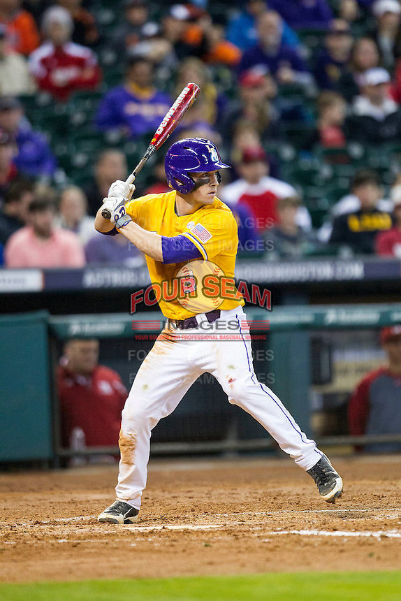 LSU Tigers shortstop Alex Bregman (8) at bat during the Houston College Classic against the Nebraska Cornhuskers on March 8, 2015 at Minute Maid Park in Houston, Texas. LSU defeated Nebraska 4-2. (Andrew Woolley/Four Seam Images)