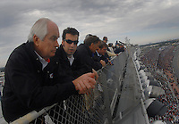 Feb 15, 2007; Daytona, FL, USA; Nascar Nextel Cup Series team owner Roger Penske with driver Sam Hornish Jr observe action during race one of the Gatorade Duel at Daytona International Speedway. Mandatory Credit: Mark J. Rebilas