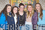Christine Brosnan, Michelle Reidy, Derval Sheehy, Clodagh Collins and Grace McCarthy enjoying the style on display at the fashion show in aid of Castleisland Community College in the River Island hotel on Thursday night..