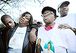 The Gazette During the vigil for Darryl Robinson on the two-month anniversary of his murder at a Temple Hills nightclub, from left Darryl Robinson's son Marquise Lee, 13, holds his mother Tameka Lee Robinson, both of District Heights as she cries while Darryl Robinson's mother Renee Ingram is held by her husband and Darryl Robinson's step-father Henry Ingram both of Washington, D.C. The vigil was held on Tuesday evening in Temple Hills on Allentown Way.