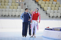 SPEEDSKATING: SOCHI: Adler Arena, 19-03-2013, Training, Pawel Abratkiewicz (coach RUS), Ivan Skobrev (RUS), © Martin de Jong